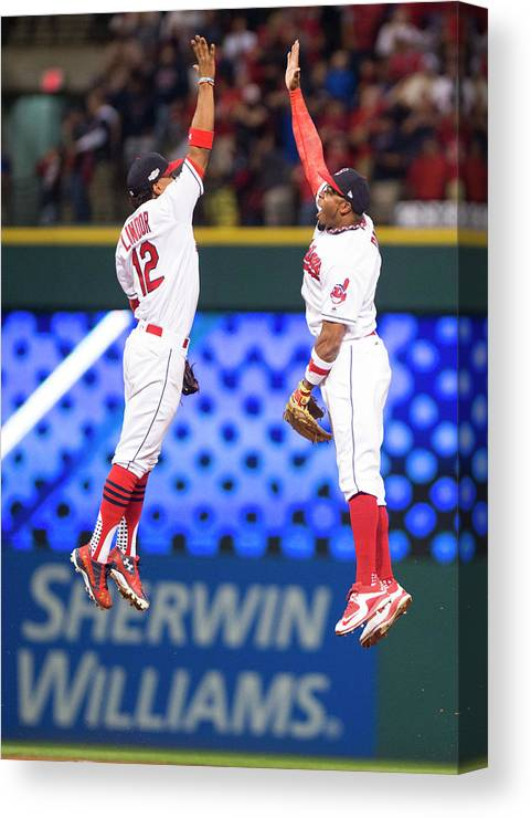 People Canvas Print featuring the photograph Rajai Davis And Francisco Lindor by Michael Ivins/boston Red Sox