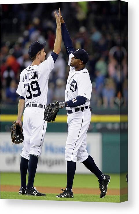 People Canvas Print featuring the photograph Rajai Davis And Josh Wilson by Duane Burleson