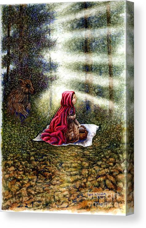 Girl In Forest Canvas Print featuring the painting The Fate Of Little Red Riding Hood Part Two by Karen Wheeler
