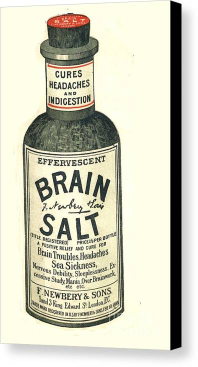 1890�s Canvas Print featuring the drawing 1890s Uk Brain Salt Headaches Humour by The Advertising Archives