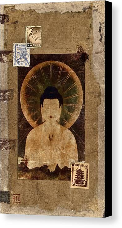Buddha Canvas Print featuring the photograph Amida Buddha Postcard Collage by Carol Leigh