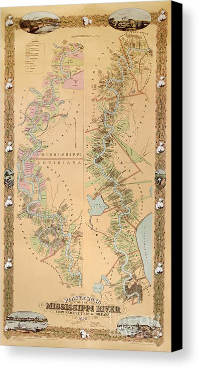 Map Depicting Plantations On The Mississippi River From Natchez To New Orleans Canvas Print featuring the drawing Map Depicting Plantations On The Mississippi River From Natchez To New Orleans by American School