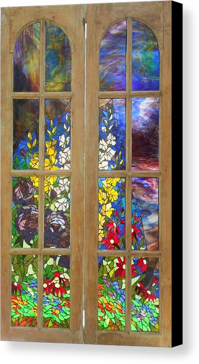 Flowers Canvas Print featuring the glass art Mosaic Stained Glass - Flower Garden by Catherine Van Der Woerd