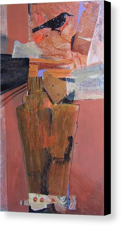 Abstract Canvas Print featuring the mixed media Sentinel by Maryann LINHART