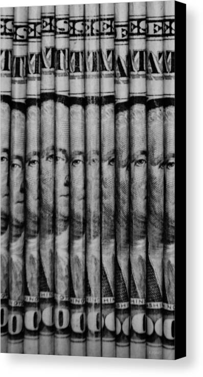 Money Canvas Print featuring the photograph Singles In Black And White by Rob Hans