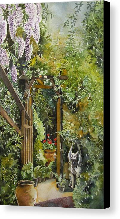 Watercolor Canvas Print featuring the painting Wisteria In Blooms by Alfred Ng