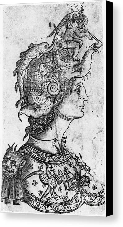 15th Century Canvas Print featuring the photograph Helmet, 15th Century by Granger