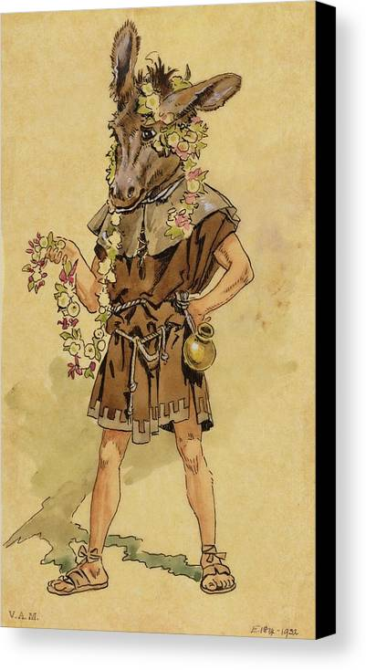 Bottom Canvas Print featuring the drawing Bottom - A Midsummer Night's Dream by C Wilhelm