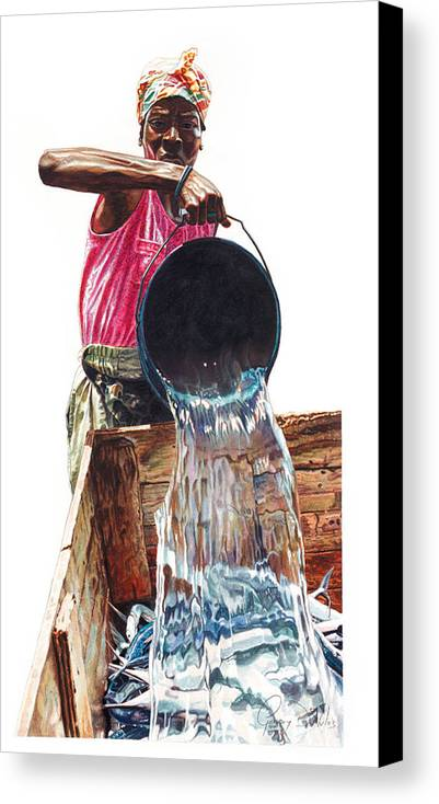 Fishes Canvas Print featuring the painting Fresh Fish Today by Gregory Jules