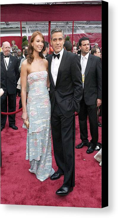 Academy Awards Canvas Print featuring the photograph George Clooney, Sarah Larson Wearing by Everett