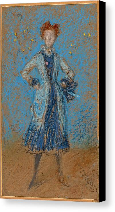 James Abbott Mcneill Whistler Canvas Print featuring the drawing The Blue Girl by James Abbott McNeill Whistler