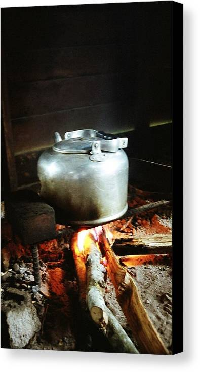 Antique Canvas Print featuring the photograph Antique Water Kettle On A Fire In Malaysia by Gosta Eger