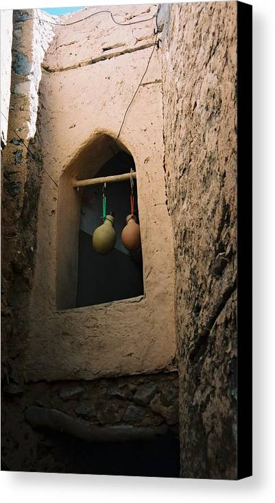 Clay Canvas Print featuring the photograph Clay Water Bottles In Oman by Gosta Eger
