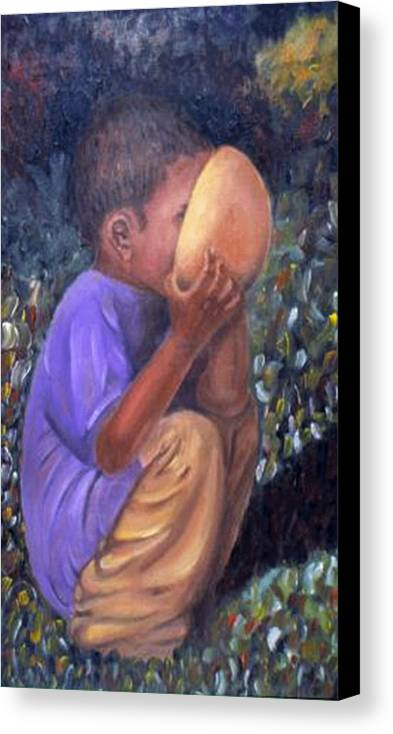 Portrait Canvas Print featuring the painting Drinking Boy by Alima Newton