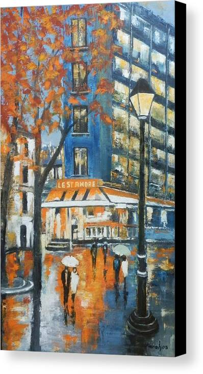 Cityscape Canvas Print featuring the painting In A Night by Maria Karalyos