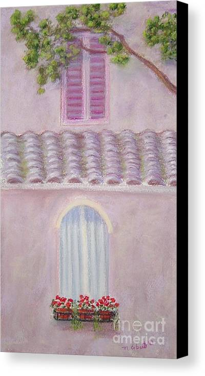 Window Boxes Canvas Print featuring the painting La Casa Rosa Lunga Il Treve by Mary Erbert