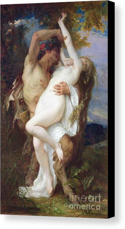 Pan Pipes Canvas Print featuring the painting Nymph Abducted By A Faun by Alexandre Cabanel
