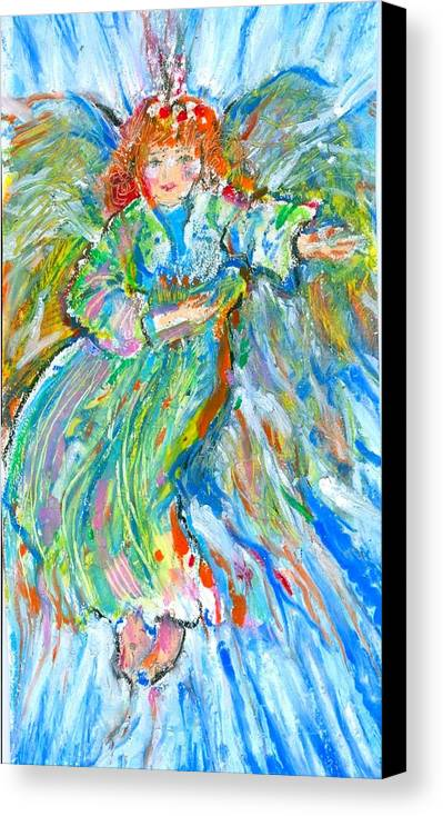 Angel; Christmas Angel; Joy; Goddess; Spirituality Canvas Print featuring the painting Painted Angel by Laurie Parker