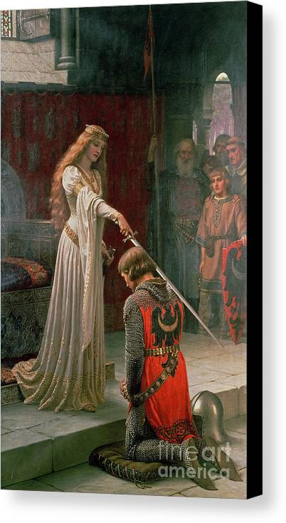 The Canvas Print featuring the painting The Accolade by Edmund Blair Leighton