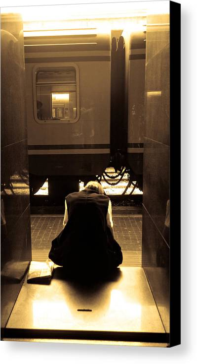 Train Canvas Print featuring the photograph Waiting For The Train by Scott Sawyer