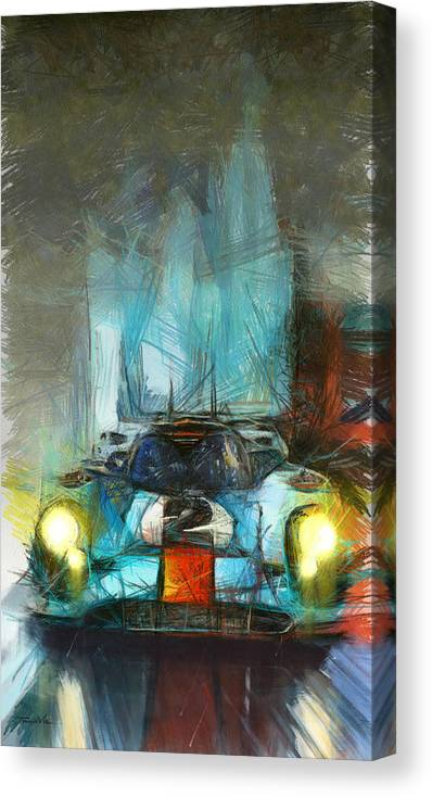 Porsche Canvas Print featuring the painting Dancing In The Rain by Tano V-Dodici ArtAutomobile