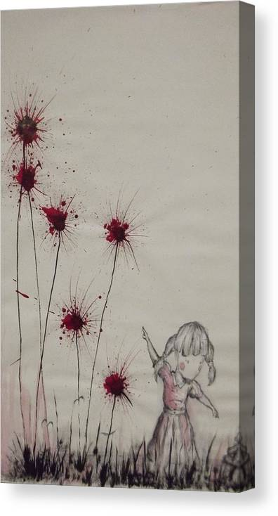 Flowers Canvas Print featuring the mixed media Look Here by Matthew Wright