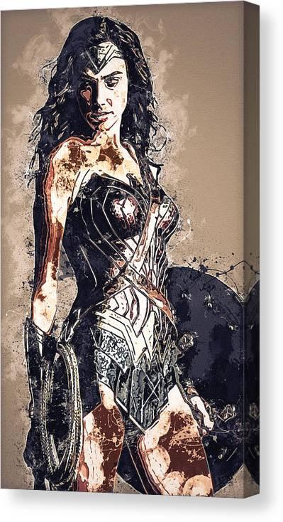 Batman Canvas Print featuring the digital art Wonder Woman by Nadezhda Zhuravleva