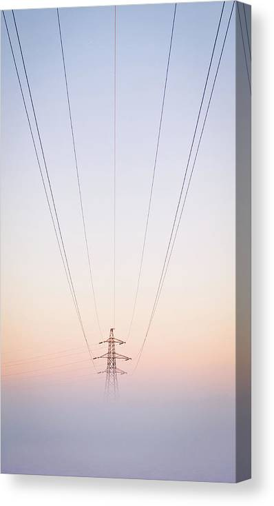 Electricity Pylon Canvas Print featuring the photograph Electricity Power Pylon In Mist by Terry Donnelly Arps