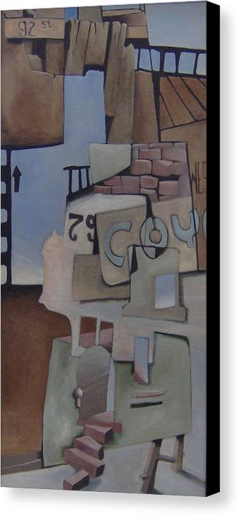 Surreal Canvas Print featuring the painting 79w92nd St by Michael Irrizary-Pagan