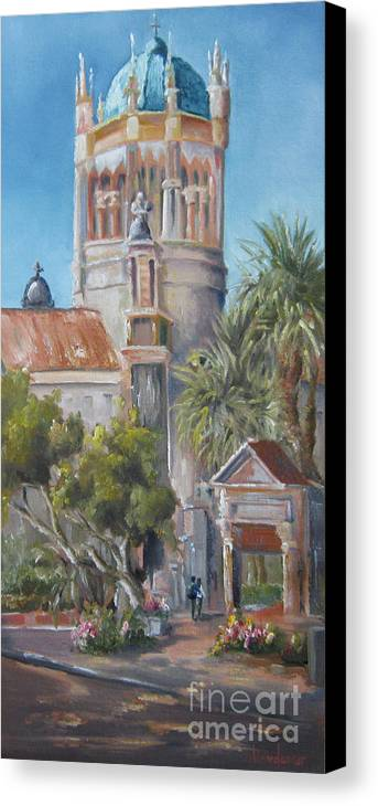 Church Canvas Print featuring the painting Blue Dome by Leah Wiedemer