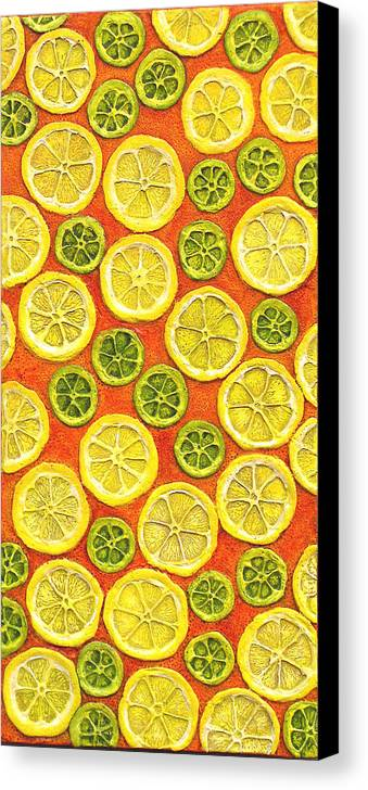 Fruit Canvas Print featuring the painting Citrus Sixties by Linda Carmel