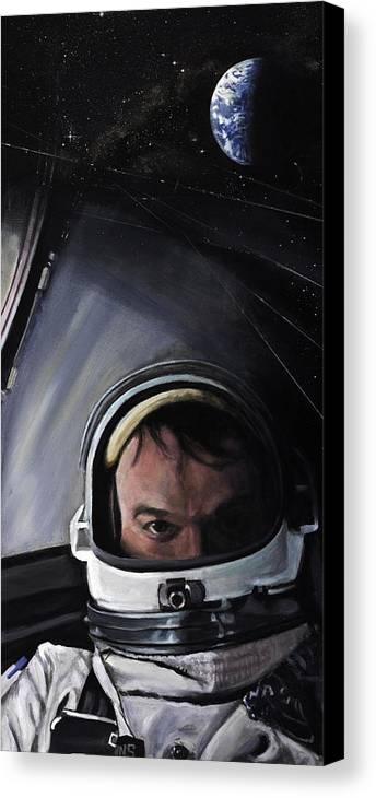 Nasa Canvas Print featuring the painting Gemini X- Michael Collins by Simon Kregar