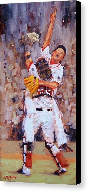 Boston Red Sox Canvas Print featuring the painting Here We Come by Laura Lee Zanghetti