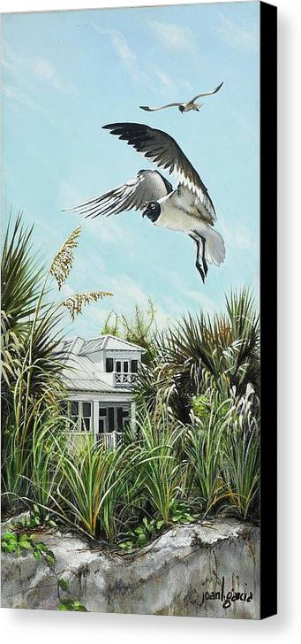 Bird Canvas Print featuring the painting North Shore Landing by Joan Garcia