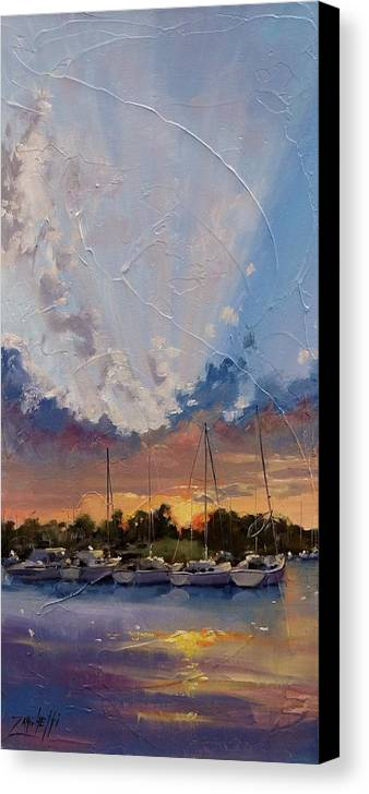 Sunset Canvas Print featuring the painting Sunset Over Bay Point by Laura Lee Zanghetti