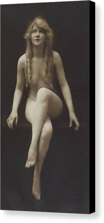 Girl Woman Female Nude Nakes Erotic Sexy Beauty Long Hair Sitting Vintage Sw Bw Black White Photograph Legs Breast Boobs Canvas Print featuring the pyrography Nude Girl 1915 by Steve K