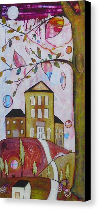 Trees Canvas Print featuring the mixed media Postal Hill by Shannon Crandall