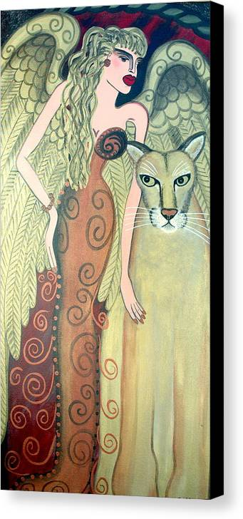 Angel Artwork Canvas Print featuring the painting A Endangered Species by Helen Gerro
