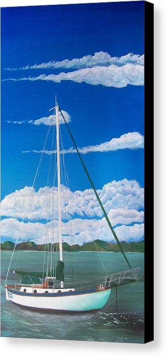 Anchored Canvas Print featuring the painting Anchored by Tony Rodriguez
