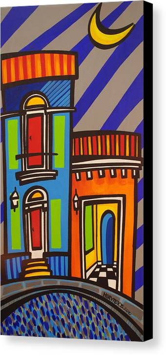 Puerto Rico Canvas Print featuring the painting Calle Luna by Mary Tere Perez