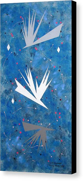 Birds And Diamond Stars Canvas Print featuring the painting Feeding Frenzy by J R Seymour
