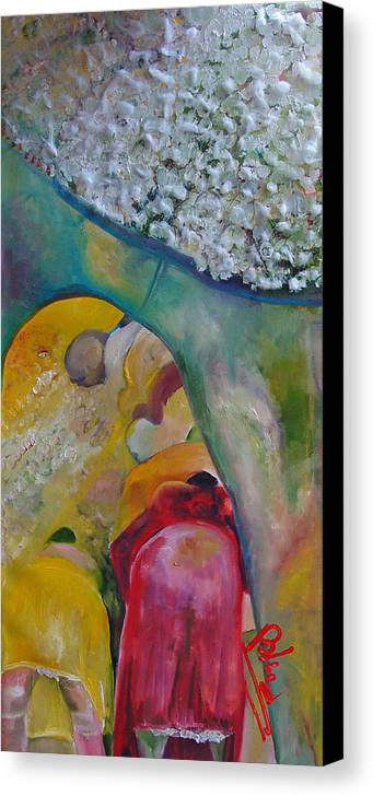 Cotton Canvas Print featuring the painting Fields Of Cotton by Peggy Blood