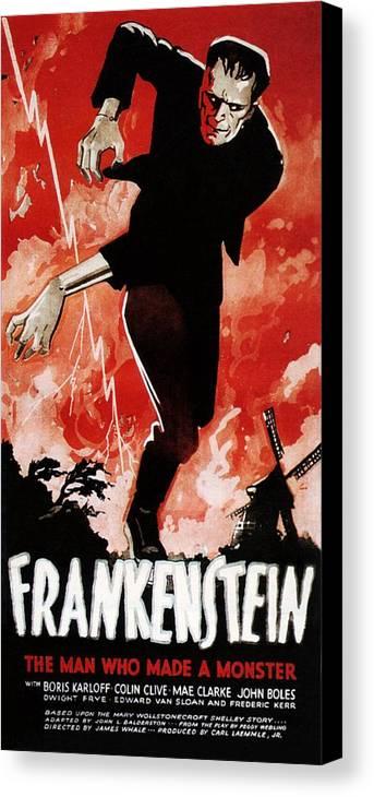 1930s Movies Canvas Print featuring the photograph Frankenstein, Boris Karloff, 1931 by Everett