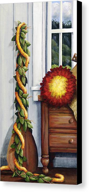 Acrylic Canvas Print featuring the painting Hawaiian Still Life Panel by Sandra Blazel - Printscapes