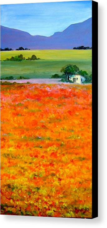 Landscape Canvas Print featuring the painting Oopsa Daisy by Liz McQueen