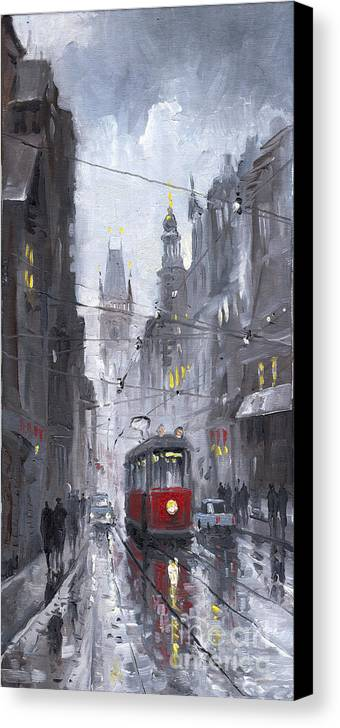 Oil On Canvas Canvas Print featuring the painting Prague Old Tram 03 by Yuriy Shevchuk