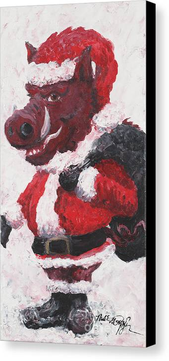 Santa Canvas Print featuring the painting Razorback Santa by Nadine Rippelmeyer