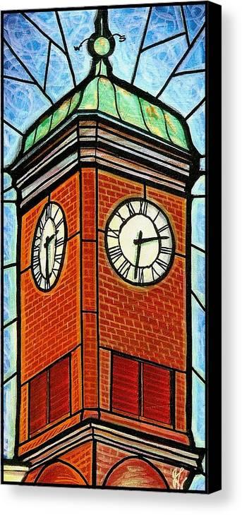 Clocks Canvas Print featuring the painting Staunton Clock Tower Landmark by Jim Harris