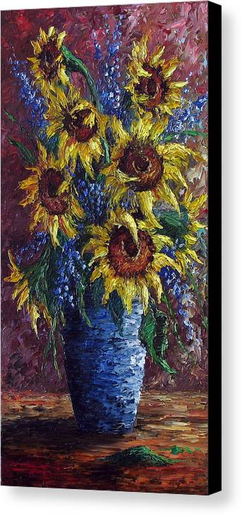 Flowers Canvas Print featuring the painting Sunflower Bouquet by David G Paul