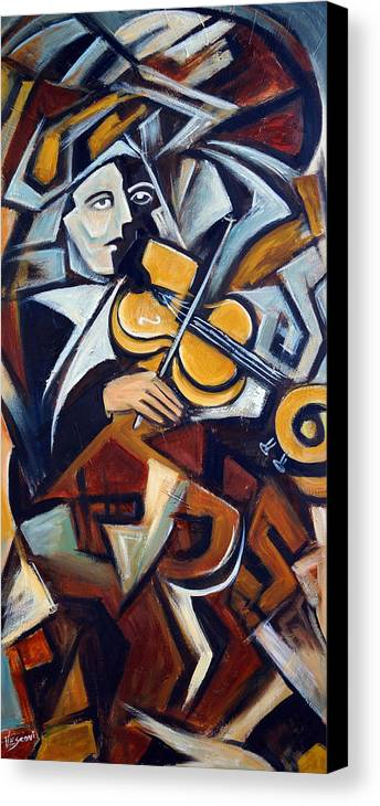 Musician Canvas Print featuring the painting The Fiddler by Valerie Vescovi